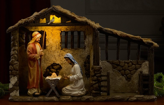 "12.75"" Lighted Christmas Nativity Stable"