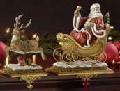 Santa with Reindeer Stocking Holders, 2 Piece Set