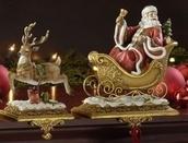 Santa with Reindeer Stocking Holders, 2 Piece Set