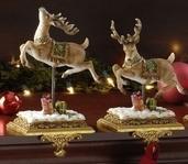 Prancing Reindeer Stocking Holders, 2 Piece Set