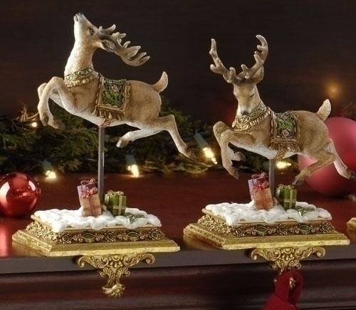 Prancing Reindeer Stocking Holders, 2 Piece Set