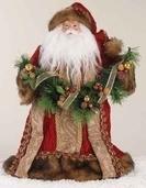 """14"""" Santa Tree Topper in Burgundy Robe with Fur Trim"""
