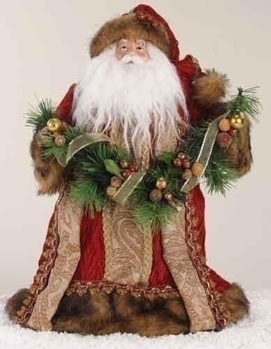 "14"" Santa Tree Topper in Burgundy Robe with Fur Trim"