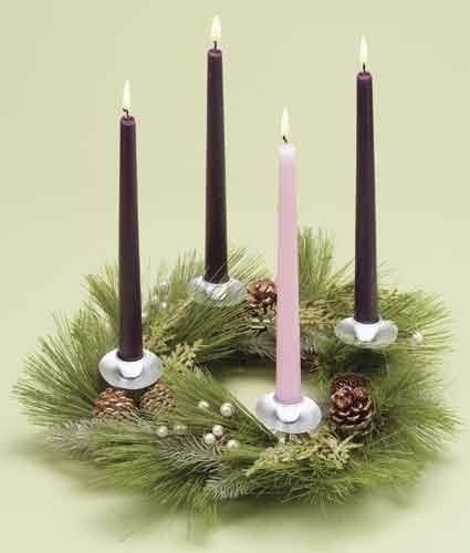 "14"" Advent Wreath Candle Holder with Pinecones"
