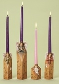 Christmas Advent Taper Candle Holders, 4 Piece Set
