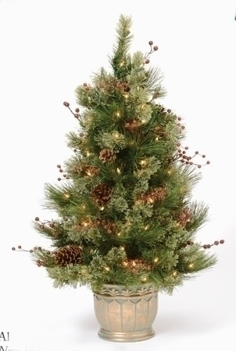 4' Adirondack Topiary Prelit Potted Tree with Clear Lights