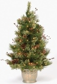 3' Adirondack Topiary Prelit Potted Tree with Clear Lights
