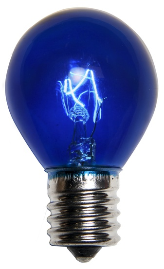 S11 Triple Dipped Transparent Blue, 10 Watt Replacement Bulbs
