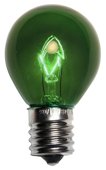 S11 Transparent Green, 10 Watt Replacement Bulbs