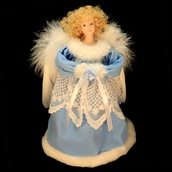 "9"" Blue Cameo Angel Tree Topper"