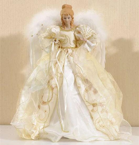 "16"" Fabric Ivory Angel Tree Topper"