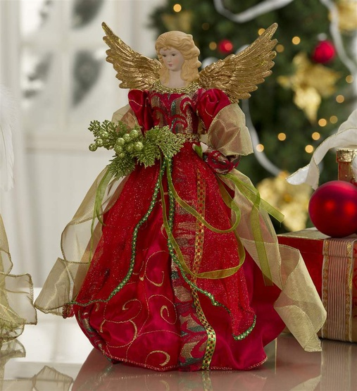 "16"" Christmas Angel Tree Topper in Burgundy"