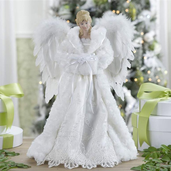 "Christmas Tree Angel Tree Topper: 16.5"" White Angel Tree Topper"