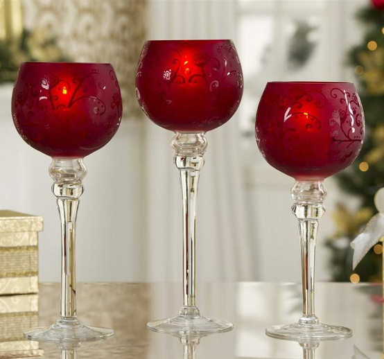 Christmas Candle Holders Frosted Red Glass Hurricane