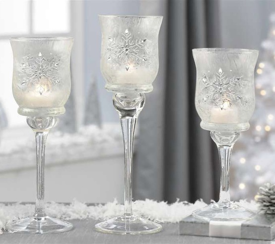 Frosted Glass Snowflake Candle Holders, 3 Piece Set