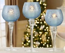 Frosted Blue Glass Hurricane Candle Holders, 3 Piece Set