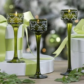 Green Tealight Candle Holders, Set of 3