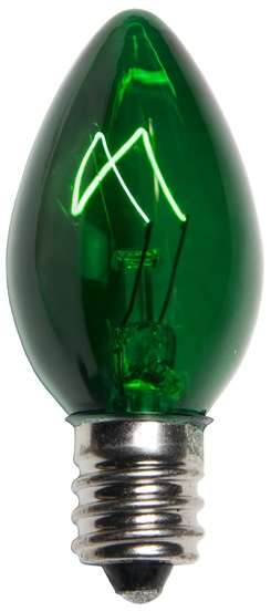 C7 Green Christmas Light Bulbs, Transparent