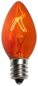C7 Amber / Orange Christmas Light Bulbs, Transparent