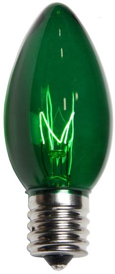 C9 Green Christmas Light Bulbs, Transparent