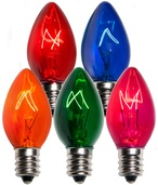 C7 Multicolor Christmas Light Bulbs, Transparent