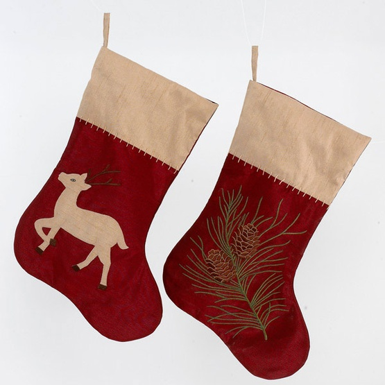 Reindeer and Pine Cone Stockings, Set of 2