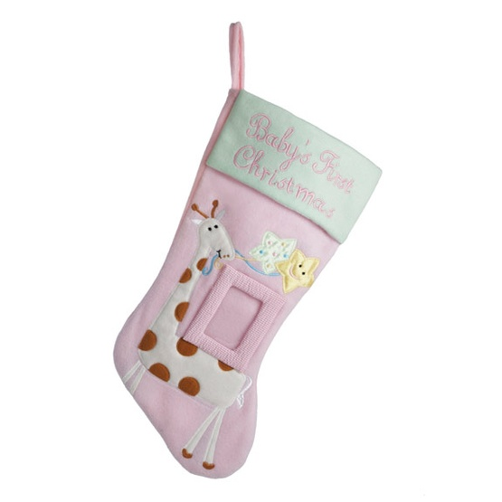 "18.5"" Baby's First Christmas Pink Stocking for Girl"