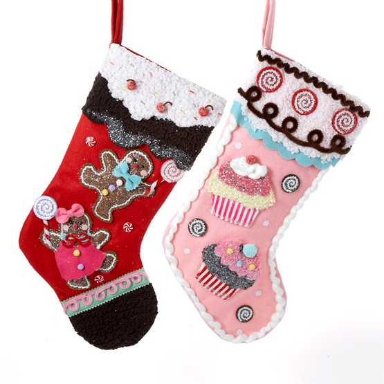 "19"" Gingerbread Man and Cupcake Stockings, 2 Piece Set"