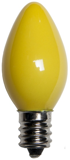 C7 Yellow Christmas Light Bulbs, Opaque