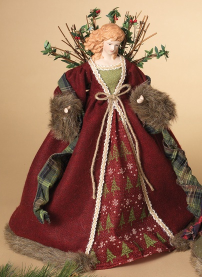 "16"" Red Woodland Angel Tree Topper"