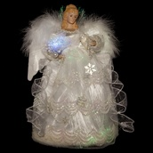 "16"" White Fiber Optic LED Angel Tree Topper"