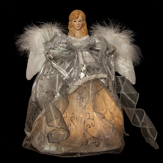 "14"" Silver Fiber Optic Animated Angel Tree Topper"