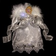 "12"" Silver and White Fiber Optic Angel Tree Topper"