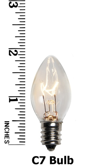 C7 Clear Christmas Light Bulbs, Transparent, 7 Watt