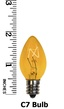 C7 Yellow Christmas Light Bulbs, Transparent