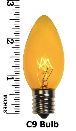C9 Yellow Christmas Light Bulbs, Transparent