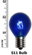 S11 Triple Dipped Transparent Blue, 10 Watt Replacement Bulbs