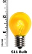 S11 Triple Dipped Transparent Yellow, 10 Watt Replacement Bulbs