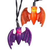 Orange and Purple Bat Halloween Light Set