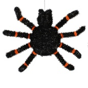 Black Spider with Glowing LED Eyes Halloween Decoration