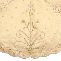 """48"""" Gold Tree Skirt with Handwork"""