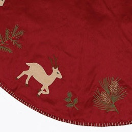 "48"" Burgundy Reindeer Applique Tree Skirt"