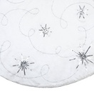 "48"" White Snowflake Tree Skirt with Scroll Embroidery"