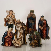 "11.5""H Hand Painted Christmas Nativity, 7 Piece Set"