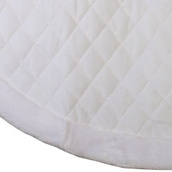 "48"" White Velvet Quilted Christmas Tree Skirt with Fur Trim"
