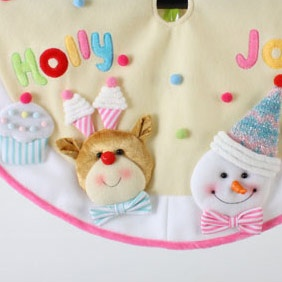 """24"""" Baby Tree Skirt with Snowman and Reindeer"""
