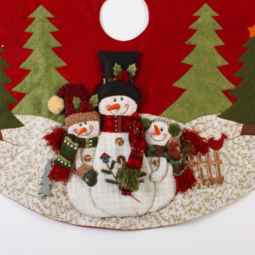 "42"" Country Snowman Applique Christmas Tree Skirt"