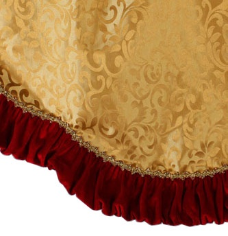 "48"" Gold / Red Tree Skirt with Velvet Ruffle Border"