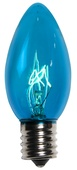 C9 Teal Christmas Light Bulbs, Transparent