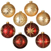 24 Count Burgundy Gold Shatterproof Ball Ornaments